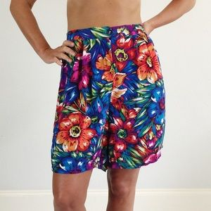 VINTAGE 80's 90's Floral Pocket Shorts A111